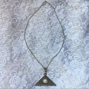 Reworked Vintage Silver Etched Triangle Necklace